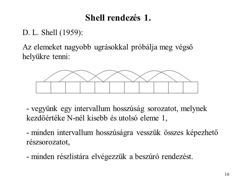 Shell rendezés 1. D. L.