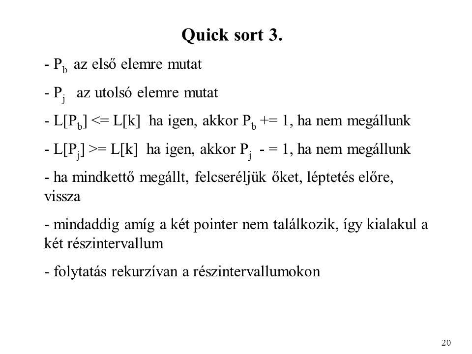 Quick sort 3.