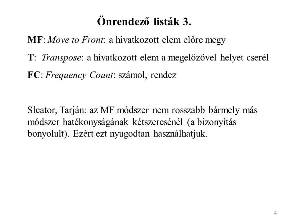 Önrendező listák 3.