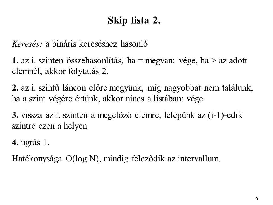 Skip lista 2. Keresés: a bináris kereséshez hasonló 1.