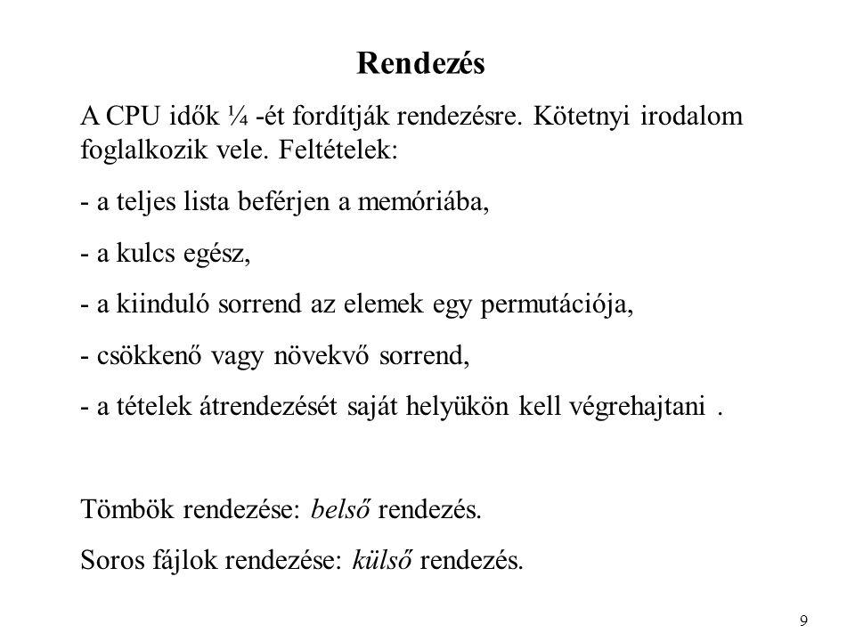 Rendezés A CPU idők ¼ -ét fordítják rendezésre. Kötetnyi irodalom foglalkozik vele.