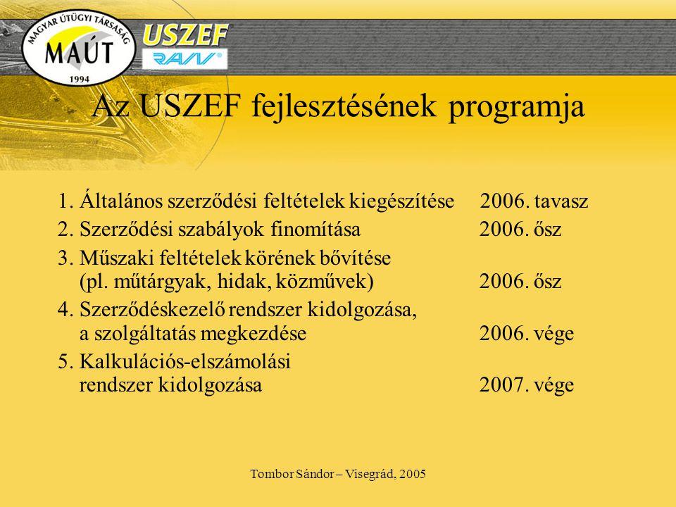 Tombor Sándor – Visegrád, 2005 Az USZEF fejlesztésének programja 1.