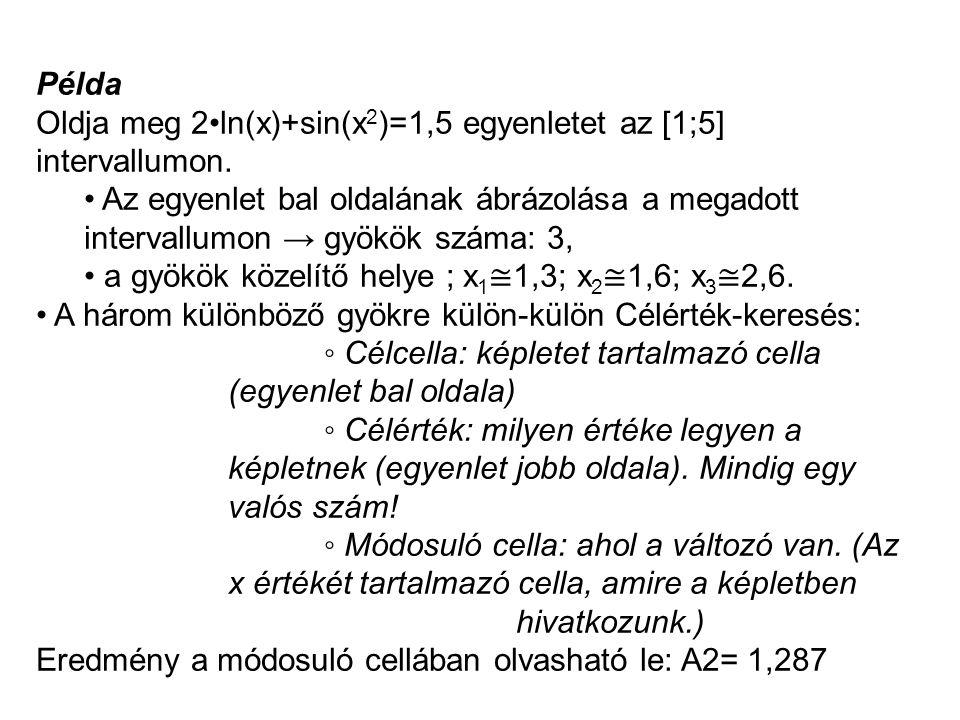 Példa Oldja meg 2•ln(x)+sin(x 2 )=1,5 egyenletet az [1;5] intervallumon. • Az egyenlet bal oldalának ábrázolása a megadott intervallumon → gyökök szám