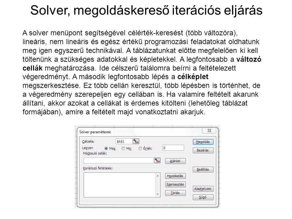 A solver menüpont segítségével célérték-keresést (több változóra), lineáris, nem lineáris és egész értékű programozási feladatokat oldhatunk meg igen