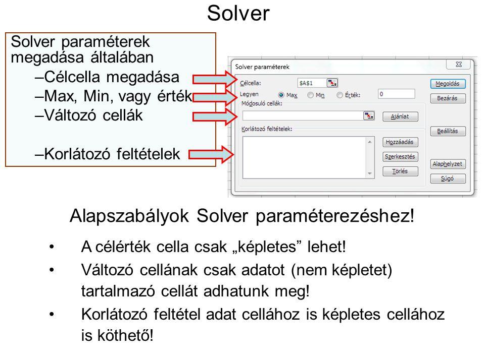 Solver Solver paraméterek megadása általában –Célcella megadása –Max, Min, vagy érték –Változó cellák –Korlátozó feltételek Alapszabályok Solver param