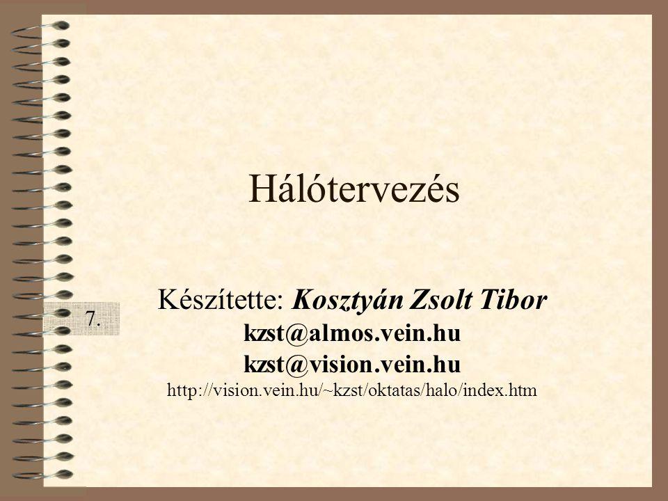 Hálótervezés Készítette: Kosztyán Zsolt Tibor kzst@almos.vein.hu kzst@vision.vein.hu http://vision.vein.hu/~kzst/oktatas/halo/index.htm 7.7.