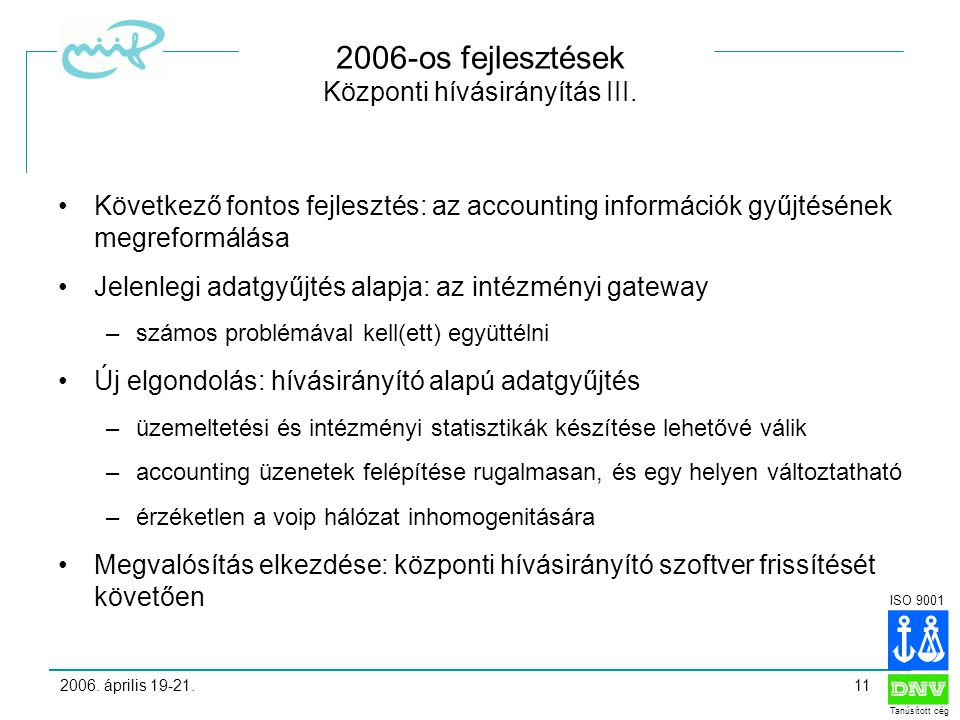 ISO 9001 Tanúsított cég 2006. április 19-21.11 2006-os fejlesztések Központi hívásirányítás III.