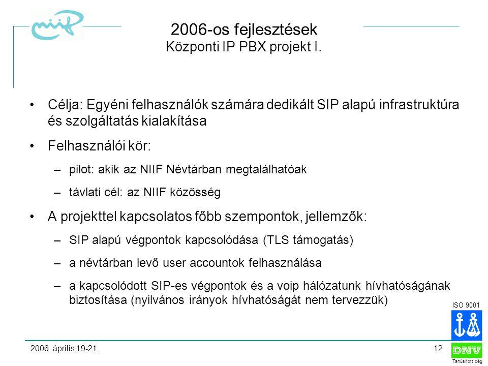 ISO 9001 Tanúsított cég 2006. április 19-21.12 2006-os fejlesztések Központi IP PBX projekt I.