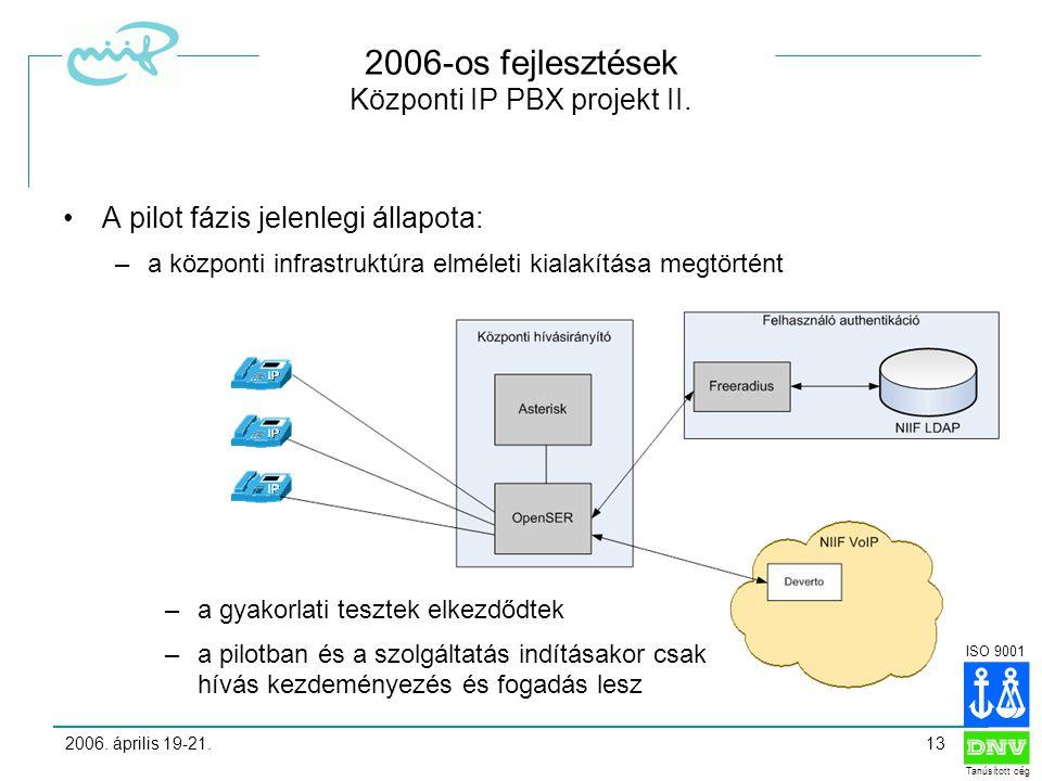 ISO 9001 Tanúsított cég 2006. április 19-21.13 2006-os fejlesztések Központi IP PBX projekt II.
