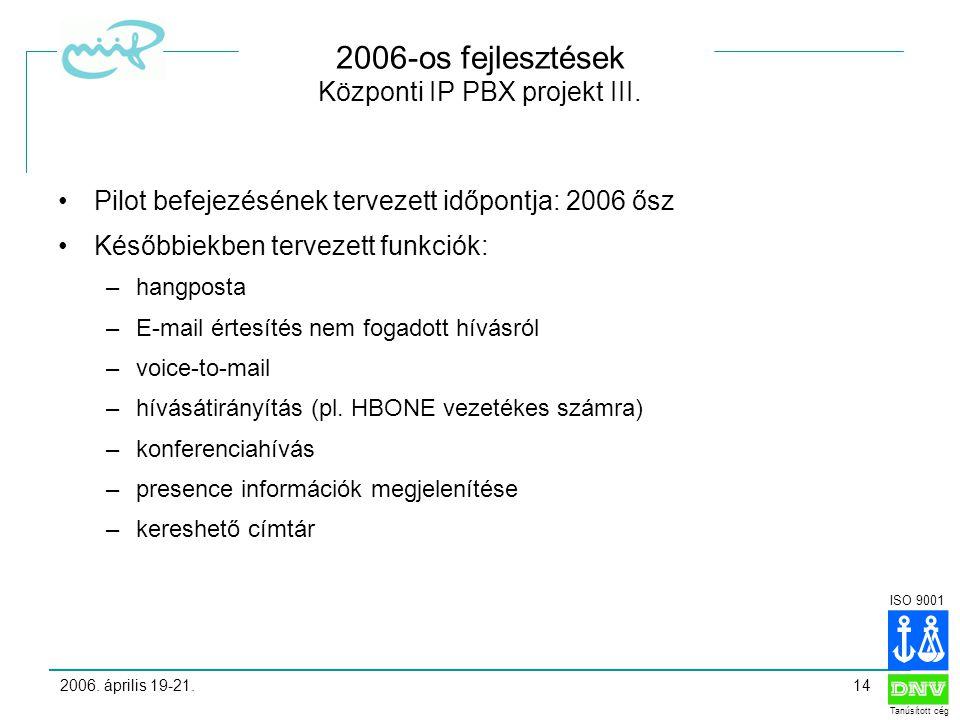 ISO 9001 Tanúsított cég 2006. április 19-21.14 2006-os fejlesztések Központi IP PBX projekt III.