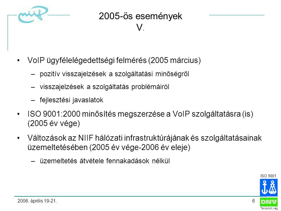 ISO 9001 Tanúsított cég 2006. április 19-21.6 2005-ös események V.