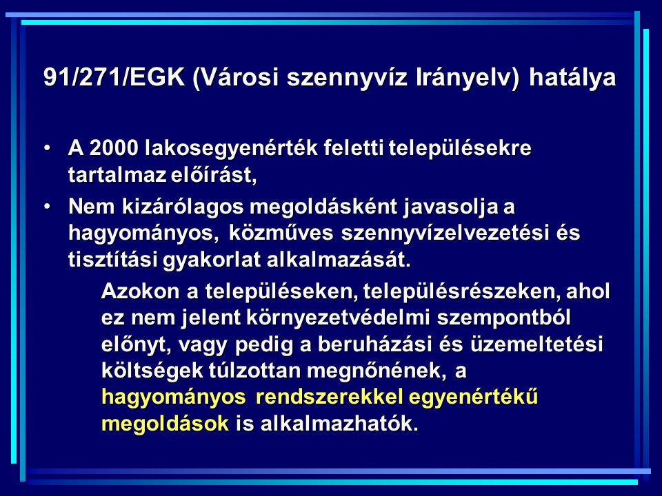 A szennyvizek tisztítási követelményei: 28/2004.(XII.