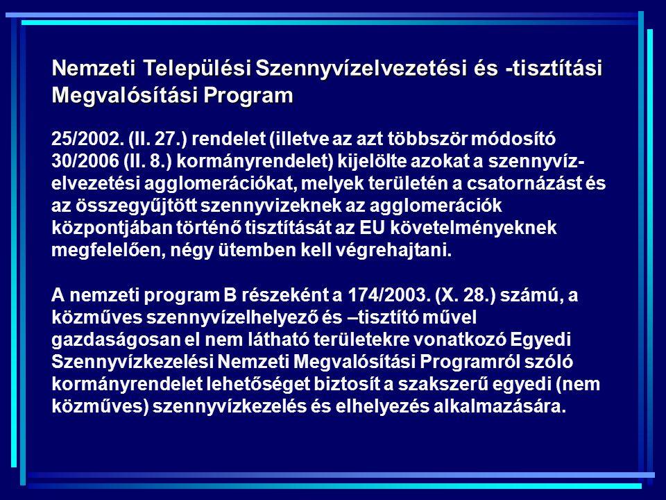 Nemzeti Települési Szennyvízelvezetési és -tisztítási Megvalósítási Program 25/2002.