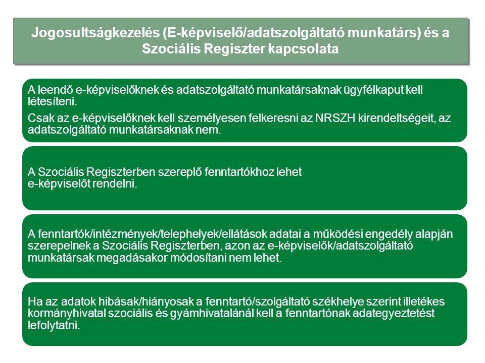 Jogosultságkezelés (E-képviselő/adatszolgáltató munkatárs) és a Szociális Regiszter kapcsolata A leendő e-képviselőknek és adatszolgáltató munkatársak