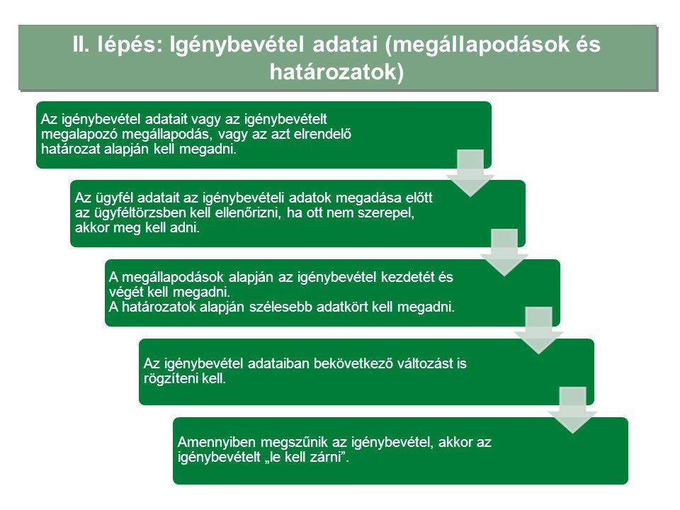 II. lépés: Igénybevétel adatai (megállapodások és határozatok) Az igénybevétel adatait vagy az igénybevételt megalapozó megállapodás, vagy az azt elre