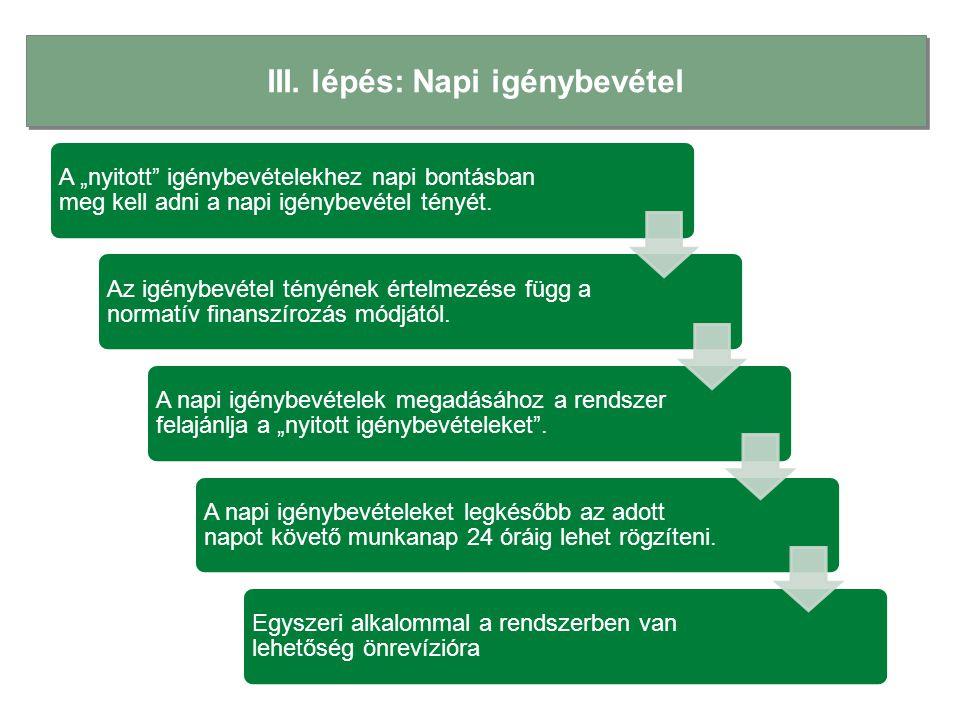 """III. lépés: Napi igénybevétel A """"nyitott"""" igénybevételekhez napi bontásban meg kell adni a napi igénybevétel tényét. Az igénybevétel tényének értelmez"""