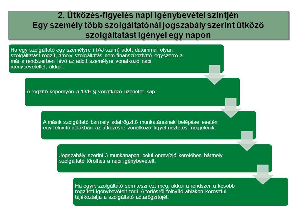 2. Ütközés-figyelés napi igénybevétel szintjén Egy személy több szolgáltatónál jogszabály szerint ütköző szolgáltatást igényel egy napon 2. Ütközés-fi