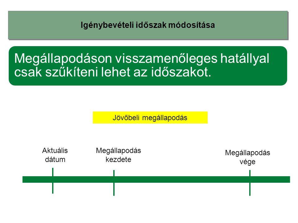 Igénybevételi időszak módosítása Megállapodáson visszamenőleges hatállyal csak szűkíteni lehet az időszakot. Megállapodás kezdete Megállapodás vége Jö