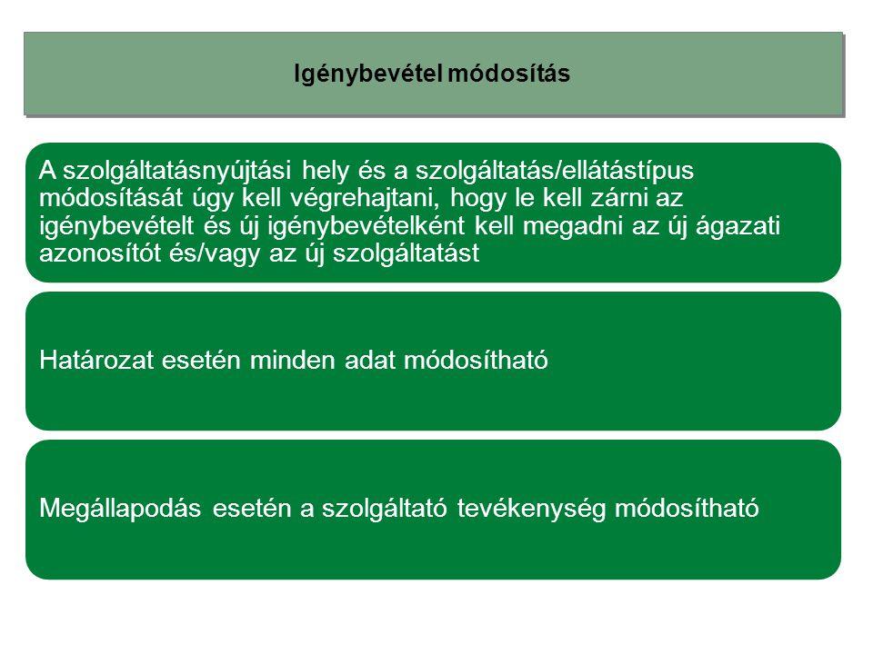 Igénybevétel módosítás A szolgáltatásnyújtási hely és a szolgáltatás/ellátástípus módosítását úgy kell végrehajtani, hogy le kell zárni az igénybevéte