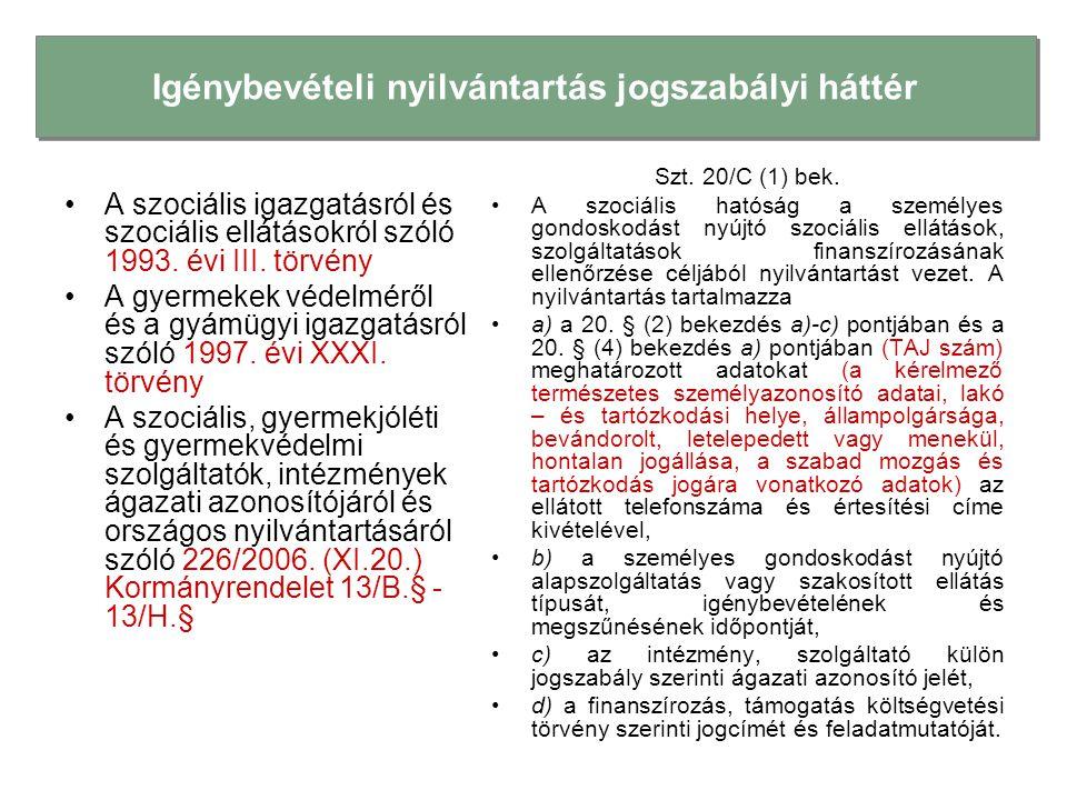 •A szociális igazgatásról és szociális ellátásokról szóló 1993. évi III. törvény •A gyermekek védelméről és a gyámügyi igazgatásról szóló 1997. évi XX