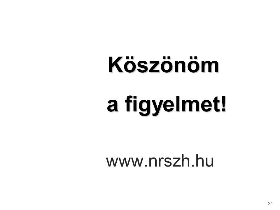 Köszönöm a figyelmet! www.nrszh.hu 31