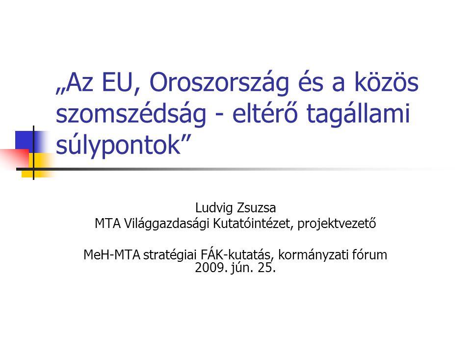 """""""Az EU, Oroszország és a közös szomszédság - eltérő tagállami súlypontok Ludvig Zsuzsa MTA Világgazdasági Kutatóintézet, projektvezető MeH-MTA stratégiai FÁK-kutatás, kormányzati fórum 2009."""