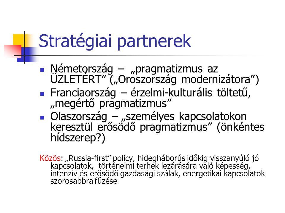 """Stratégiai partnerek  Németország – """"pragmatizmus az ÜZLETÉRT (""""Oroszország modernizátora )  Franciaország – érzelmi-kulturális töltetű, """"megértő pragmatizmus  Olaszország – """"személyes kapcsolatokon keresztül erősödő pragmatizmus (önkéntes hídszerep?) Közös: """"Russia-first policy, hidegháborús időkig visszanyúló jó kapcsolatok, történelmi terhek lezárására való képesség, intenzív és erősödő gazdasági szálak, energetikai kapcsolatok szorosabbra fűzése"""