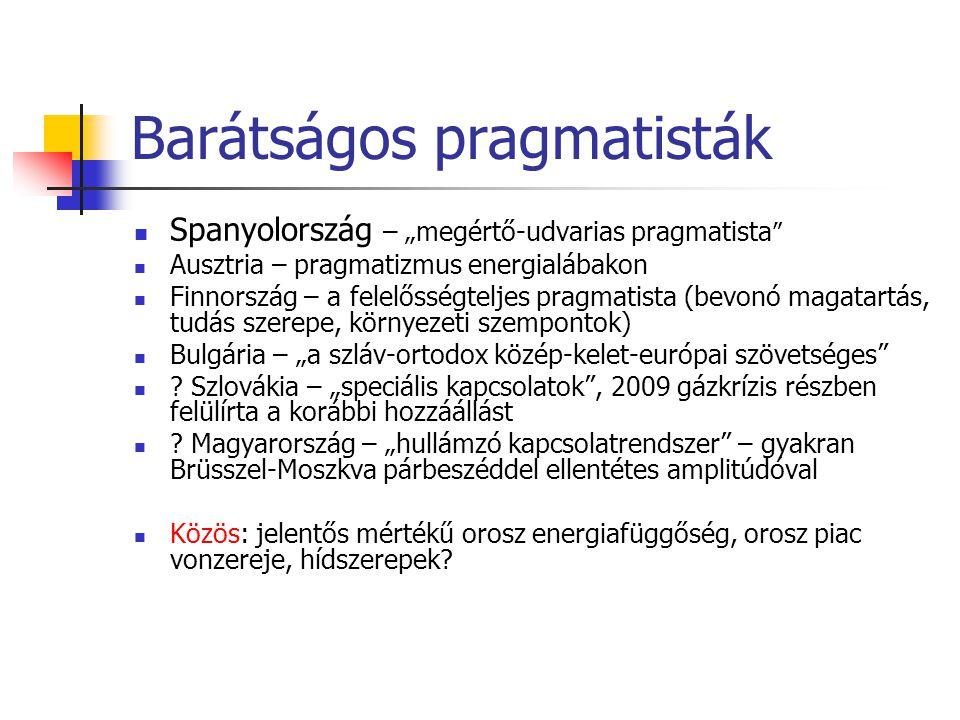 """Barátságos pragmatisták  Spanyolország – """"megértő-udvarias pragmatista  Ausztria – pragmatizmus energialábakon  Finnország – a felelősségteljes pragmatista (bevonó magatartás, tudás szerepe, környezeti szempontok)  Bulgária – """"a szláv-ortodox közép-kelet-európai szövetséges  ."""