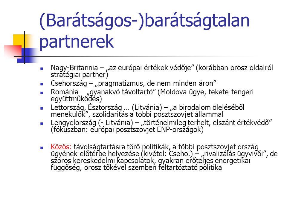 """(Barátságos-)barátságtalan partnerek  Nagy-Britannia – """"az európai értékek védője (korábban orosz oldalról stratégiai partner)  Csehország – """"pragmatizmus, de nem minden áron  Románia – """"gyanakvó távoltartó (Moldova ügye, fekete-tengeri együttműködés)  Lettország, Észtország … (Litvánia) – """"a birodalom öleléséből menekülők , szolidaritás a többi posztszovjet állammal  Lengyelország (- Litvánia) – """"történelmileg terhelt, elszánt értékvédő (fókuszban: európai posztszovjet ENP-országok)  Közös: távolságtartásra törő politikák, a többi posztszovjet ország ügyének előtérbe helyezése (kivétel: Cseho.) – """"rivalizálás ügyvivői , de szoros kereskedelmi kapcsolatok, gyakran erőteljes energetikai függőség, orosz tőkével szemben feltartóztató politika"""