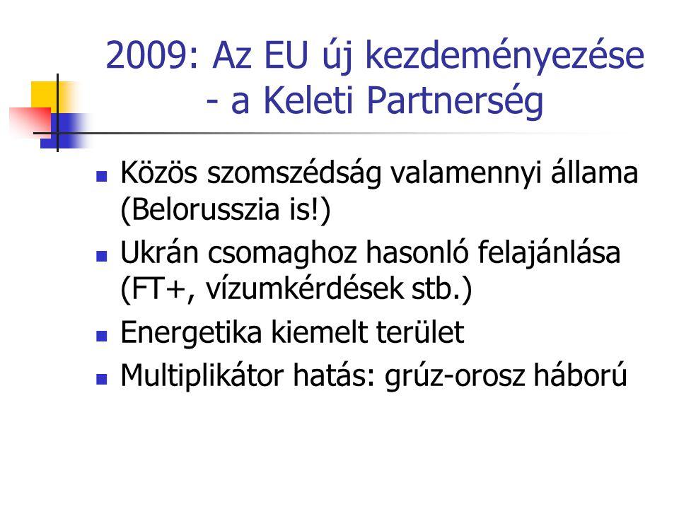 2009: Az EU új kezdeményezése - a Keleti Partnerség  Közös szomszédság valamennyi állama (Belorusszia is!)  Ukrán csomaghoz hasonló felajánlása (FT+, vízumkérdések stb.)  Energetika kiemelt terület  Multiplikátor hatás: grúz-orosz háború
