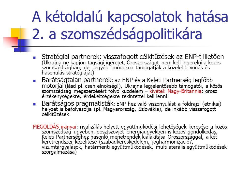 A kétoldalú kapcsolatok hatása 2. a szomszédságpolitikára  Stratégiai partnerek: visszafogott célkitűzések az ENP-t illetően (Ukrajna ne kapjon tagsá