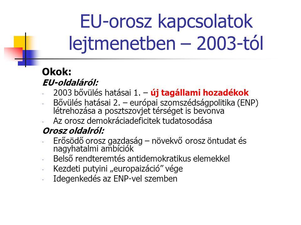 EU-orosz kapcsolatok lejtmenetben – 2003-tól Okok: EU-oldaláról: - 2003 bővülés hatásai 1. – új tagállami hozadékok - Bővülés hatásai 2. – európai szo