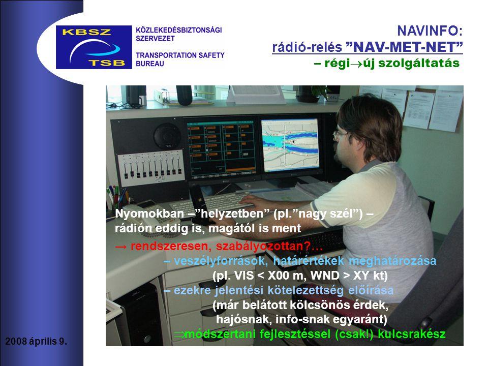 """8 2008 április 9. NAVINFO: rádió-relés """"NAV-MET-NET"""" Nyomokban –""""helyzetben"""" (pl.""""nagy szél"""") – rádión eddig is, magától is ment → rendszeresen, szabá"""