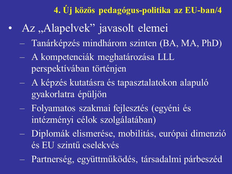 """4. Új közös pedagógus-politika az EU-ban/4 •Az """"Alapelvek"""" javasolt elemei –Tanárképzés mindhárom szinten (BA, MA, PhD) –A kompetenciák meghatározása"""