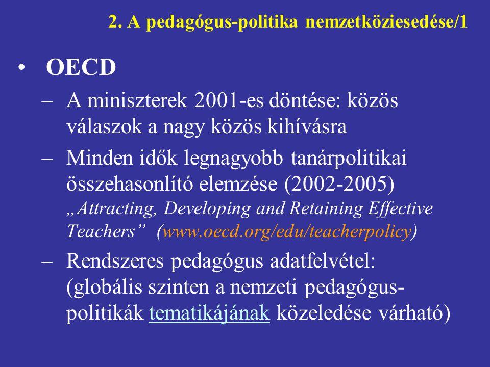 Generációváltás a tanári szakmában A pedagógus-politika iránti figyelem/1 Generációváltás a tanári szakmában –a fejlett országok többségében tömeges nyugdíjba vonulás várható (Magyarország nem tartozik ide!) –a várható hiány kezelése (a szakma vonzóbbá tétele, elmenők megtartása, új belépési lehetőségek stb.) –kell-e egyáltalán hiányról beszélni.