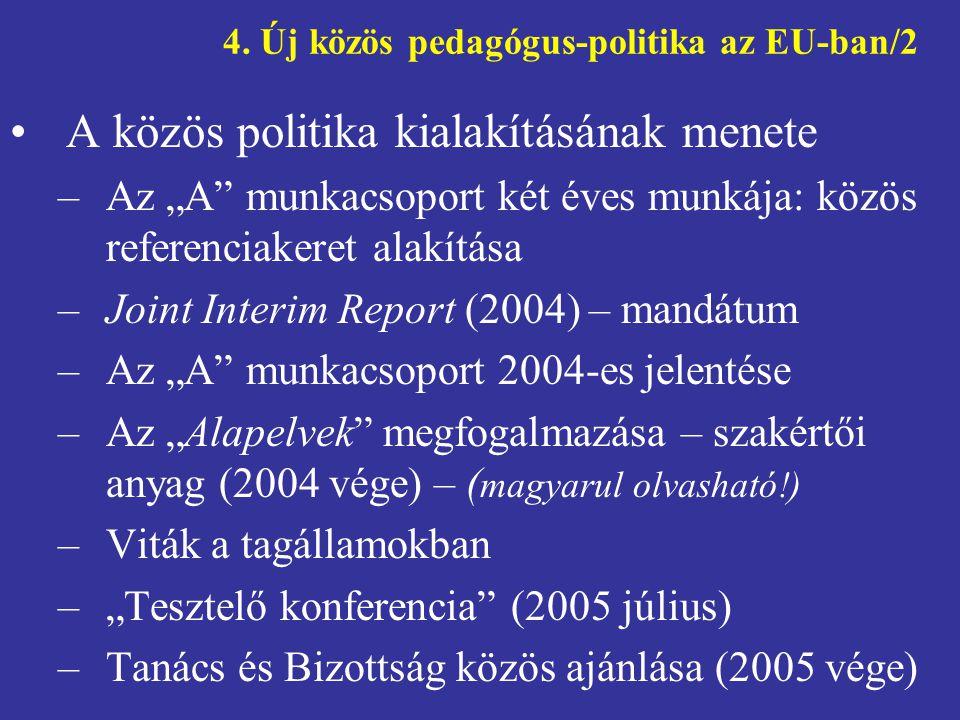 """4. Új közös pedagógus-politika az EU-ban/2 •A közös politika kialakításának menete –Az """"A"""" munkacsoport két éves munkája: közös referenciakeret alakít"""