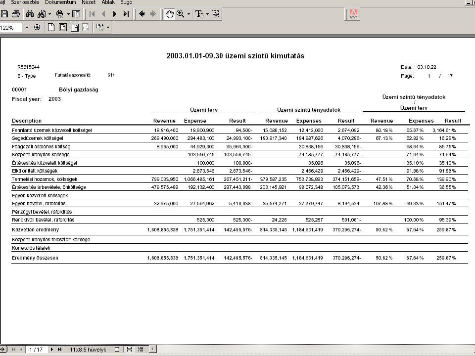 Havi controlling jelentés  Árbevétel alakulása 2002.