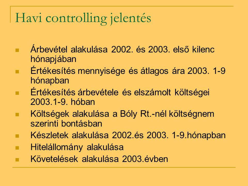 Havi controlling jelentés  Árbevétel alakulása 2002. és 2003. első kilenc hónapjában  Értékesítés mennyisége és átlagos ára 2003. 1-9 hónapban  Ért