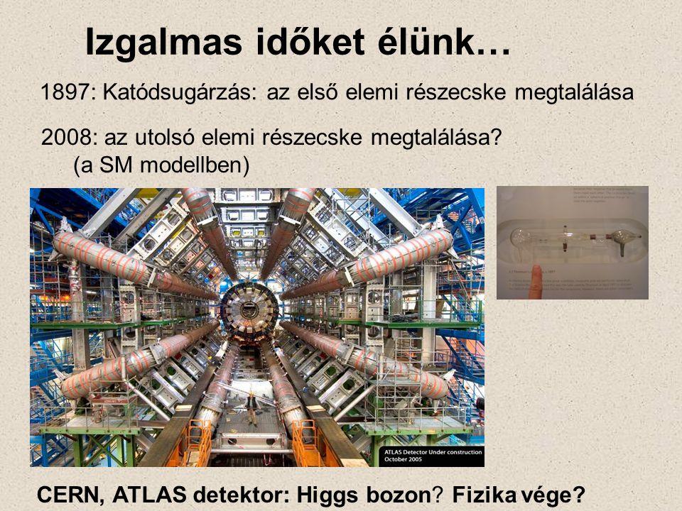 1897: Katódsugárzás: az első elemi részecske megtalálása 2008: az utolsó elemi részecske megtalálása? (a SM modellben) Izgalmas időket élünk… CERN, AT