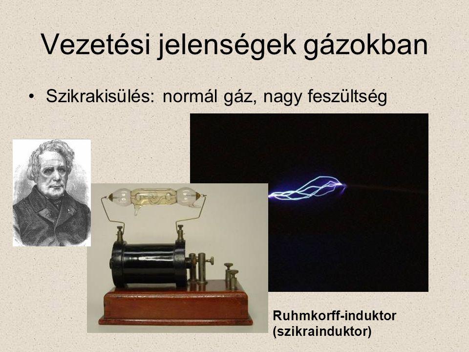 Vezetési jelenségek gázokban •Szikrakisülés: normál gáz, nagy feszültség Ruhmkorff-induktor (szikrainduktor)