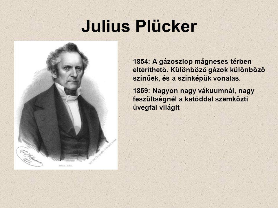 Julius Plücker 1854: A gázoszlop mágneses térben eltéríthető. Különböző gázok különböző színűek, és a színképük vonalas. 1859: Nagyon nagy vákuumnál,