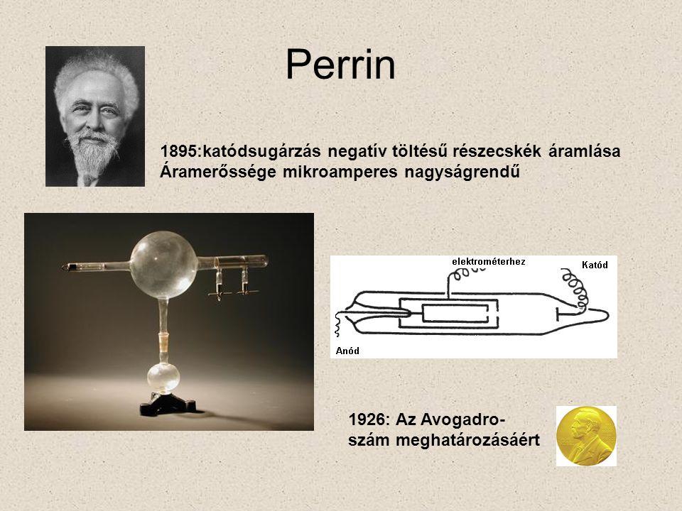 Perrin 1895:katódsugárzás negatív töltésű részecskék áramlása Áramerőssége mikroamperes nagyságrendű 1926: Az Avogadro- szám meghatározásáért