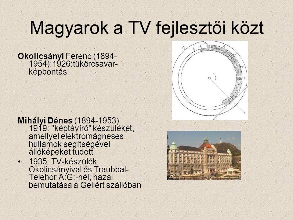 Magyarok a TV fejlesztői közt Okolicsányi Ferenc (1894- 1954):1926:tükörcsavar- képbontás Mihályi Dénes (1894-1953) 1919: képtávíró készülékét, amellyel elektromágneses hullámok segítségével állóképeket tudott •1935: TV-készülék Okolicsányival és Traubbal- Telehor A:G:-nél, hazai bemutatása a Gellért szállóban