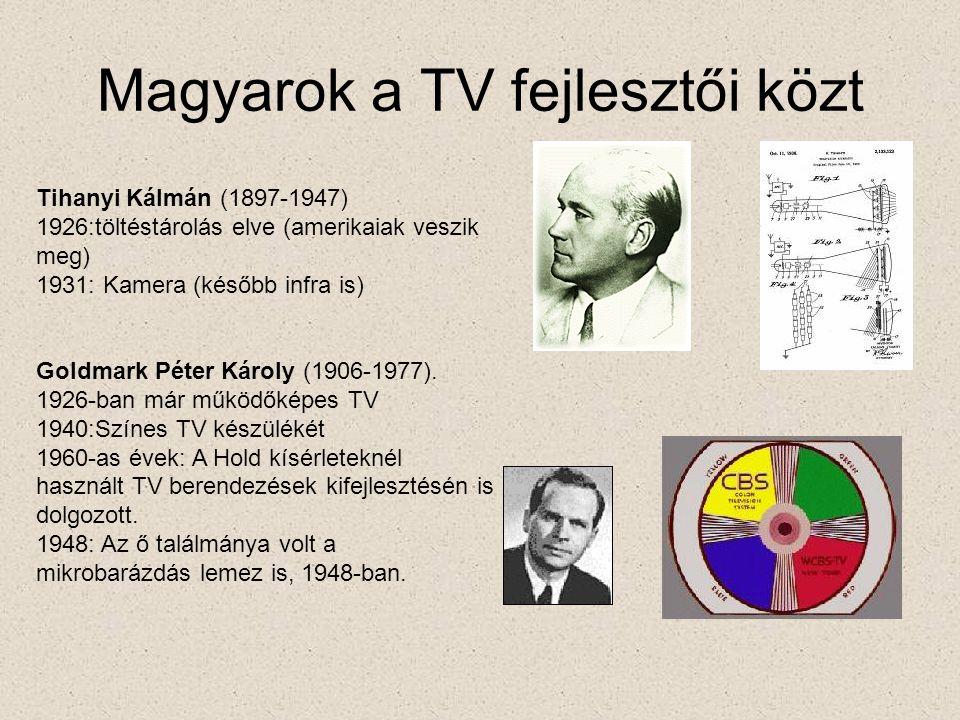 Magyarok a TV fejlesztői közt Tihanyi Kálmán (1897-1947) 1926:töltéstárolás elve (amerikaiak veszik meg) 1931: Kamera (később infra is) Goldmark Péter