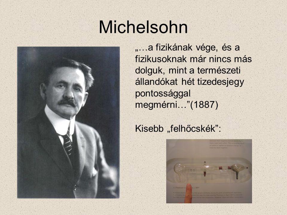 """Michelsohn """"…a fizikának vége, és a fizikusoknak már nincs más dolguk, mint a természeti állandókat hét tizedesjegy pontossággal megmérni… (1887) Kisebb """"felhőcskék :"""