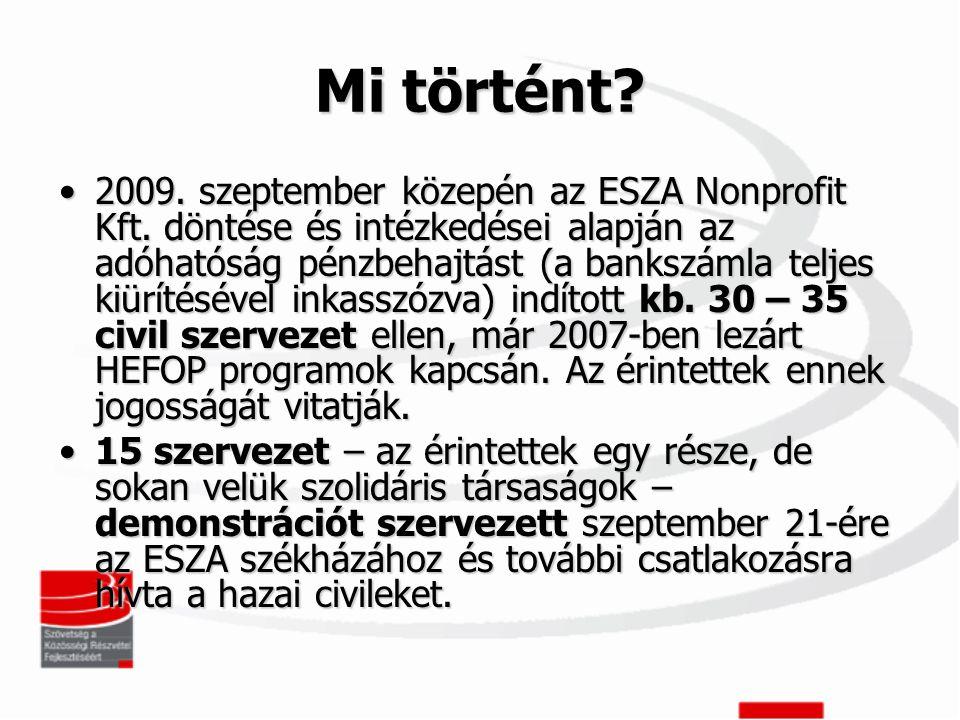 Mi történt. •2009. szeptember közepén az ESZA Nonprofit Kft.