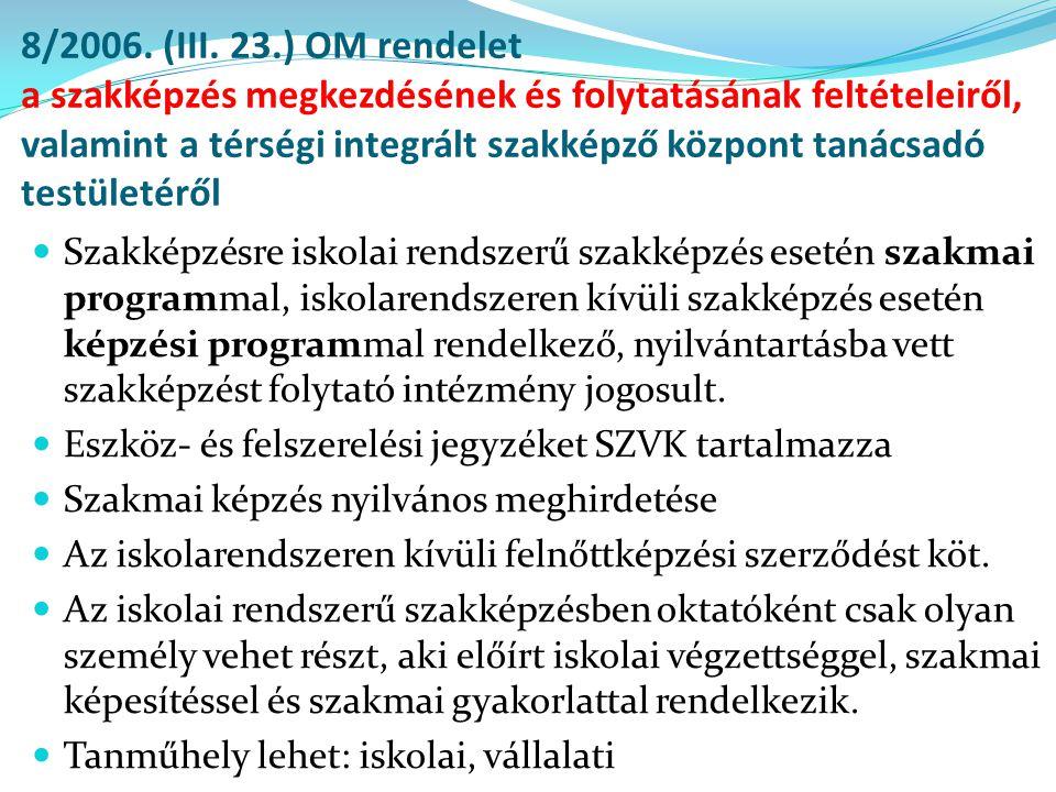 8/2006. (III. 23.) OM rendelet a szakképzés megkezdésének és folytatásának feltételeiről, valamint a térségi integrált szakképző központ tanácsadó tes