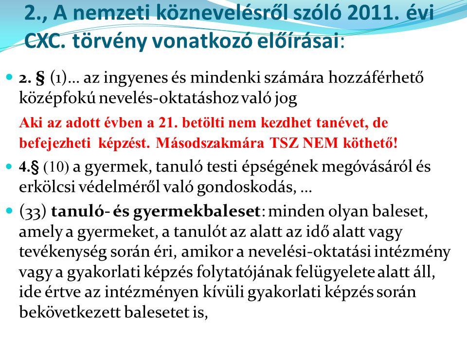 2., A nemzeti köznevelésről szóló 2011. évi CXC. törvény vonatkozó előírásai:  2. § (1)… az ingyenes és mindenki számára hozzáférhető középfokú nevel