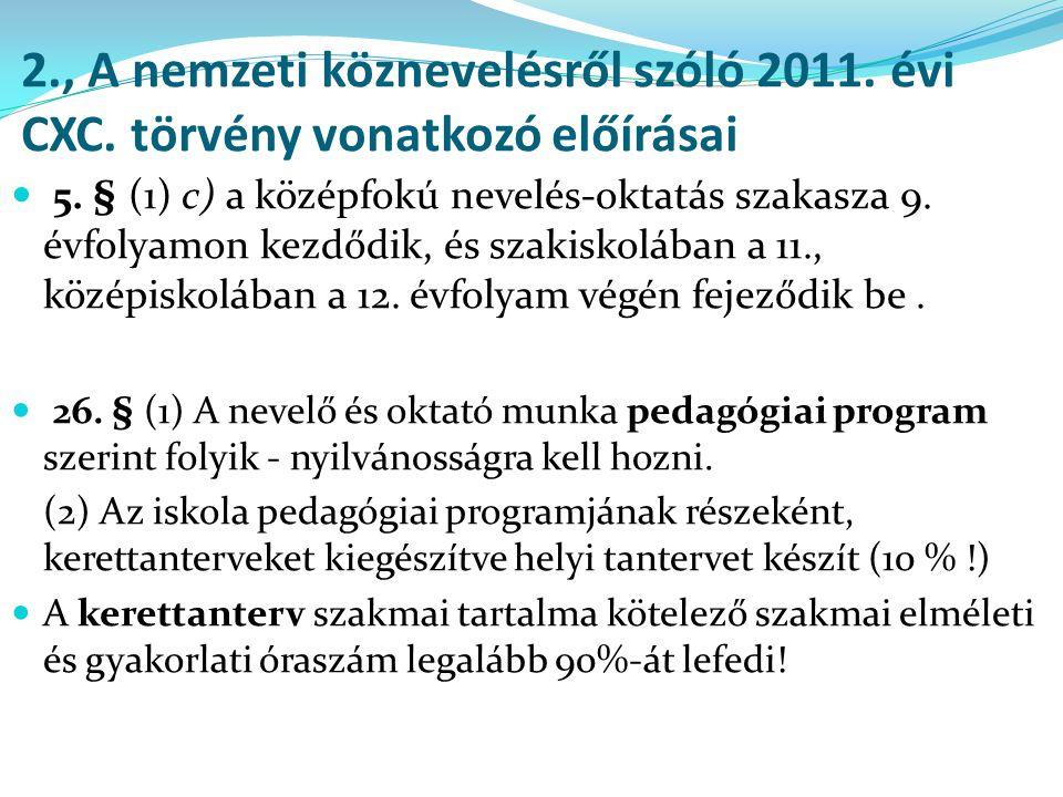 2., A nemzeti köznevelésről szóló 2011. évi CXC. törvény vonatkozó előírásai  5. § (1) c) a középfokú nevelés-oktatás szakasza 9. évfolyamon kezdődik