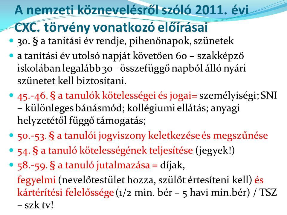 A nemzeti köznevelésről szóló 2011. évi CXC. törvény vonatkozó előírásai  30. § a tanítási év rendje, pihenőnapok, szünetek  a tanítási év utolsó na